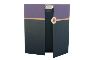 Purple, gold and black faux leather clipboard with a gate-fold design.