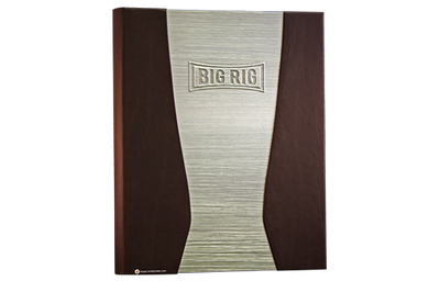 Rich brown Coach faux leather menu cover married to a bright aluminum with a horizontal linen finish.