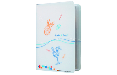 Translucent water resistant poly menu cover with elastic binding and colorful beach themed artwork.