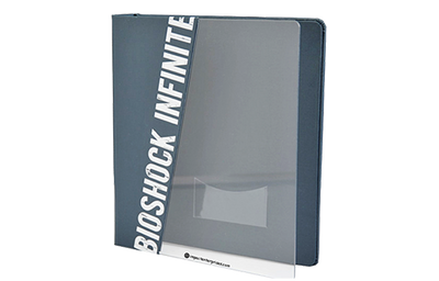 Clear acrylic presentation binder with a grey faux linen diagonal quarterbind spine.