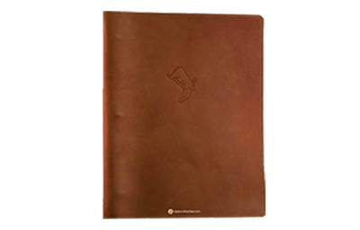 Rich brown distressed floppy leather menu cover with blind debossed artwork.