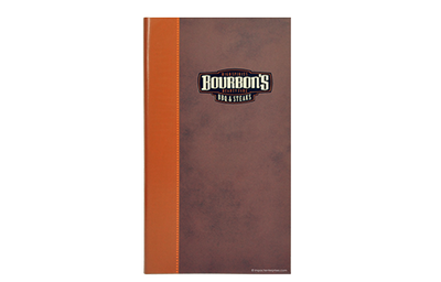 Faux leather menu cover with red faux linen interior panels and 2-color screen quarterbind spine.