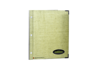 Faux grasscloth binder with printed applique artwork.