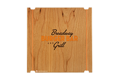 Cherry veneer menu board with laser-engraved logo and elastic binding.