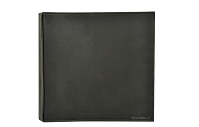 Black leather 3-ring binder with blind debossed artwork and sewn edges.