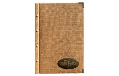Light brown faux grasscloth menu cover with bronze metal corners.