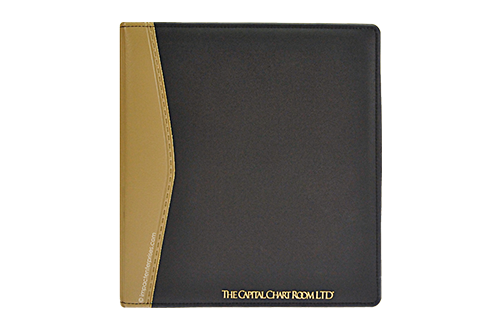 Black and Brown vinyl heatsealed binder with a sewn perimeter and a foil stamped logo on cover for Capital Chart Room