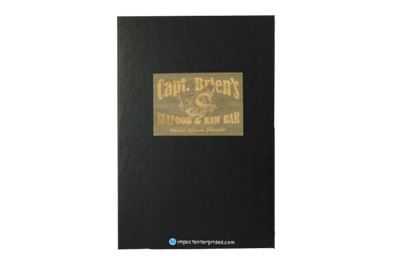 Driftwood stain with chocolate brown coach faux leather menu cover with laser-engraved artwork in the wood.