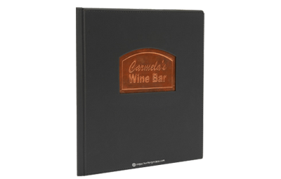 Economic Euro faux leather menu cover with an embossed copper plate.