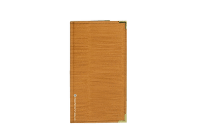 Harvest gold faux grasscloth menu cover check presenter with metal treatment on the corners.
