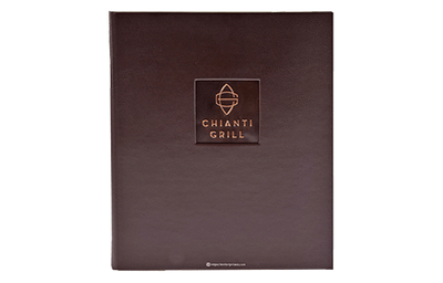 Deep brown coach faux leather menu cover with a dark copper plate embossed with artwork.