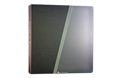 Frosted acrylic binder cover with a grey faux linen quarterbind spine.