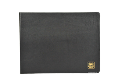 Landscape leather binder with gold foil debossed artwork.