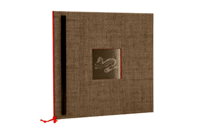 Faux grey grasscloth binder with etched glass in cover in turned edge frame.