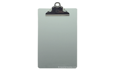 Metal clipboard with a laser-etched clip.