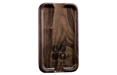 Dark walnut check presenter with rounded corners and laser-engraved logo.
