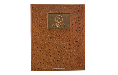 Rich brown baby ostrich faux leather menu cover with copper plate and embossed and buffed artwork.