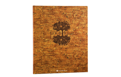 Faux cork binder cover that is embossed in a bark pattern with foil debossed artwork.