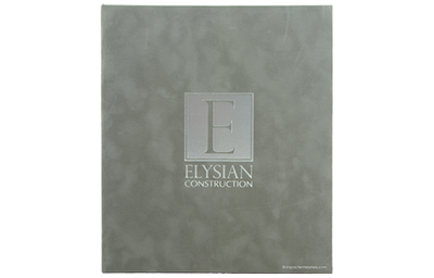 Grey faux leather binder cover with silver foil debossed artwork.