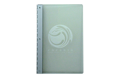 Frosted acrylic menu with an aluminum piano hinge spine and laser-engraved artwork.