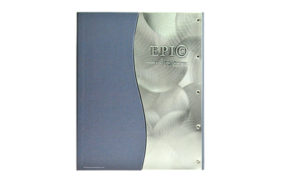 Faux leather menu cover with handcrafted shell brushed aluminum.