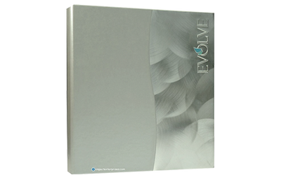 Aluminum binder cover with shell brushed aluminum and silver metallic faux leather die-cut wave.