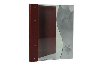 Tempered glass with aluminum in a wave design menu cover, with a rich burgundy spine and back cover.