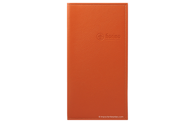 Leather menu with blind stamped logo on front.