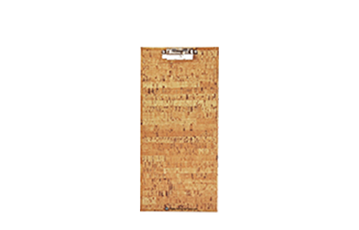 Faux cork custom clipboard with low profile lever clips and two-color screened artwork.