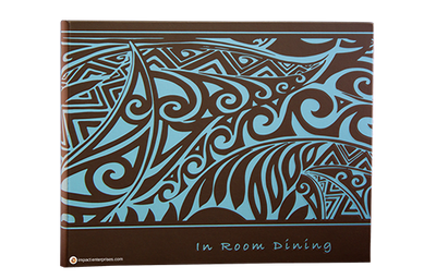 Rich dark brown faux leather menu cover with full cover screened and debossed with sky blue artwork.