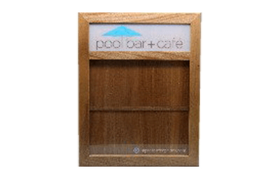 Solid mahogany wood display case with two color silk screened poly plate.