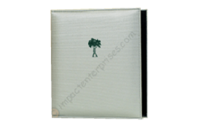 White binder cover with green artwork.