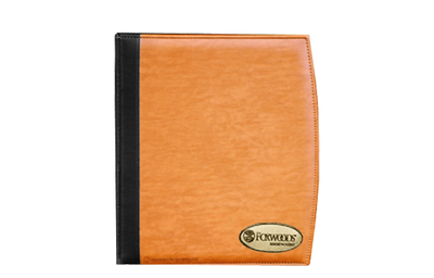 Rich saddle Euro faux leather binder cover with black Euro faux leather quarterbind spine.