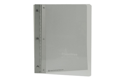 Plexiglass binder cover with an aluminum hinge piece.