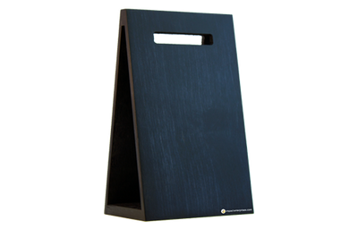Black baltic birch veneer stained wood menu with a cut-out handle.