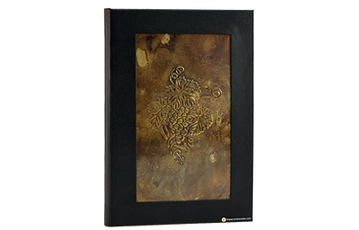 Recycled natural dark brass finish wine list cover framed with aqueous coated faux linen.