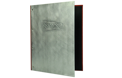 Industrial chic aluminum wine list cover with a faux leather spine and back cover.
