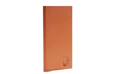 Orange 'fish scale' fabric menu cover with blind and foil debossed artwork.