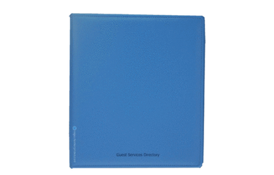 Sky blue Euro faux leather binder cover with simple foil deboss.