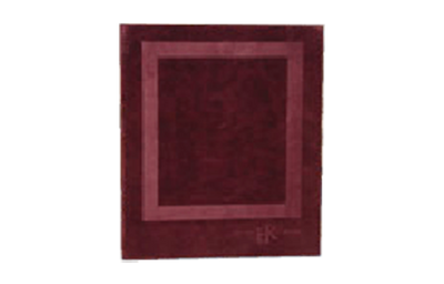 Rich burgundy faux suede binder with blind debossed logo.