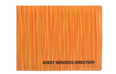 Colorful vinyl directory cover with wire-o bound inserts.
