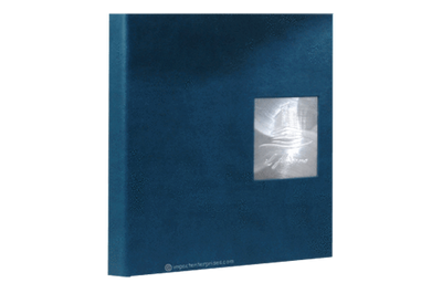 Blue faux leather binder cover with embossed aluminum plate set in a turned-edge die-cut window.