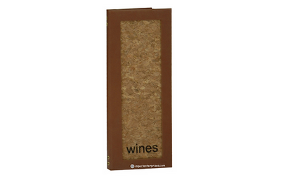Natural cork wine list cover that is framed in a rich medium brown faux leather with foil debossed text.