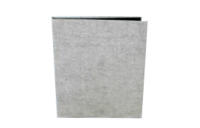 Textured white burlap material guest service directory cover.