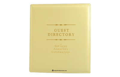 Harvest yellow faux leather heat-sealed directory cover with foil debossed artwork.