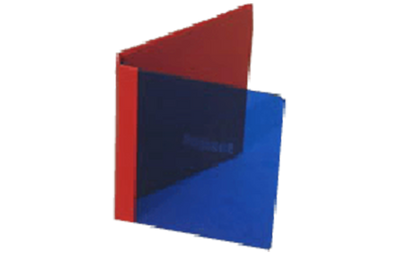 Transparent blue acrylic binder with faux leather spine and back cover.