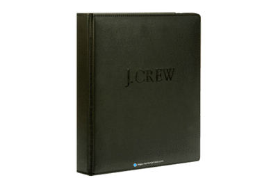 Black Euro faux leather binder cover with a black foil debossed logo.