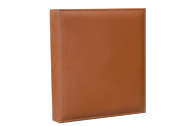 Natural premium grade leather binder cover with no decoration.