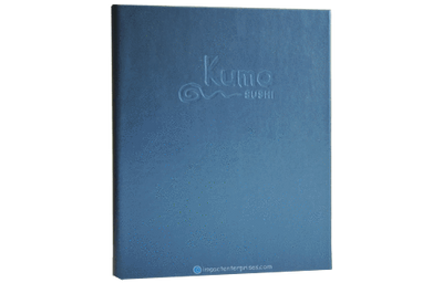 Metallic blue faux leather menu cover with blind debossed artwork.