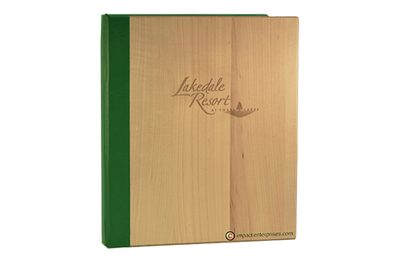 Maple veneer menu cover with a green aqueous quarterbind spine coated in faux linen.